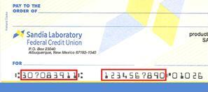 Check with routing number and account numbers highlighted